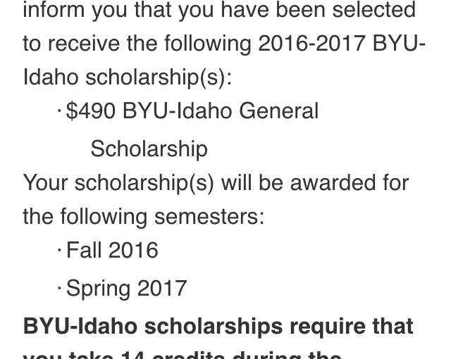BYUI scholarship