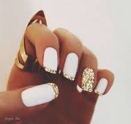 Golden White Nails